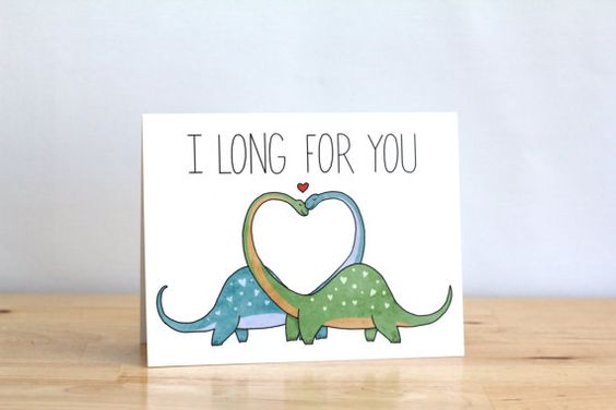 Funny Valentine. I Long For You. Dinosaurs. Dino Dinosaur. by ClaireLordonDesign, $4.00: