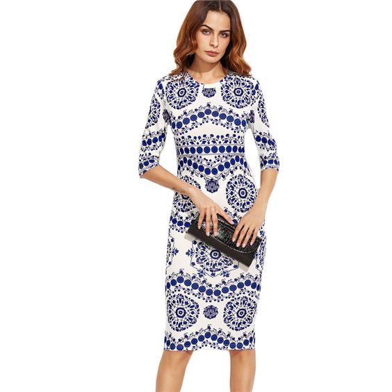 This adorable slim office dress features a blue and white porcelain design. With it's pencil shape and long sleeve design, this elegant and classy dress is perfect for the work place or a lunch out with the girls. Sleeve Length(cm): Three Quarter Silhouette: Sheath Style: Brief Dresses Length: Mid-Calf Material: Cotton and Rayon
