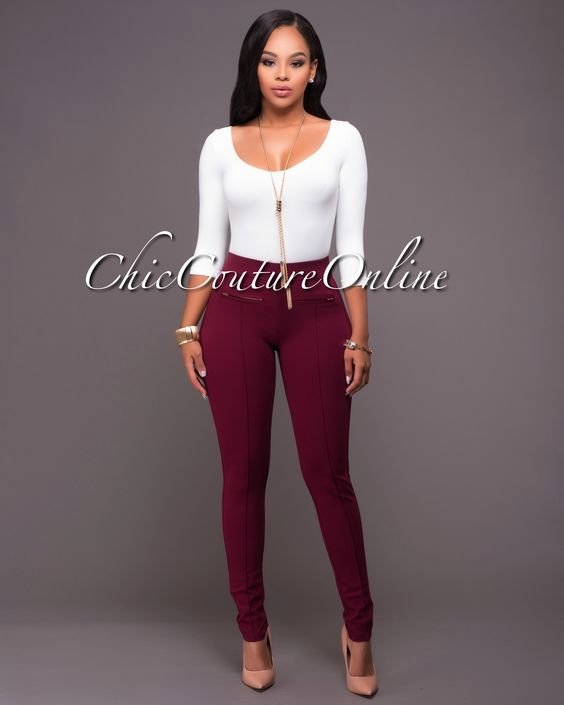 Chic Couture Online - Segal Burgundy Zipper Accents Leggings.(http://www.chiccoutureonline.com/segal-burgundy-zipper-accents-leggings/)