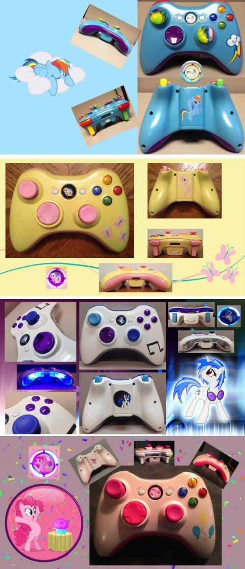 Custom My Little Pony Xbox 360 Controllers. GET ME VINYL SCRATCH AND I WILL FOREVER BE UR FRIEND!!!!!-