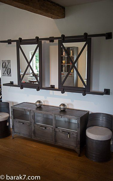 grand miroir industriel coulissant deco pinterest industrial style and industrial mirrors. Black Bedroom Furniture Sets. Home Design Ideas
