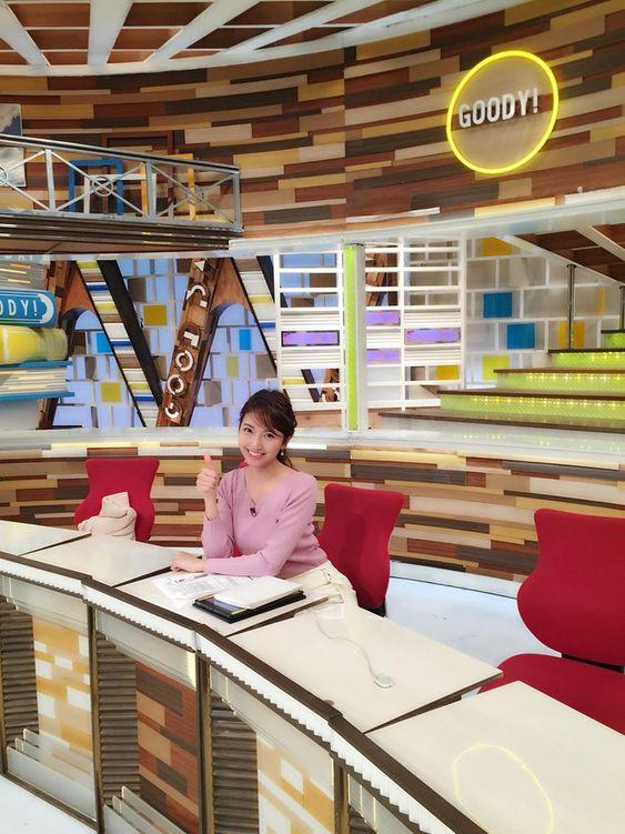 グッディ!のスタジオに座っている三田友梨佳アナの画像