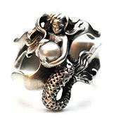 Mermaid ring. silver and pearl.