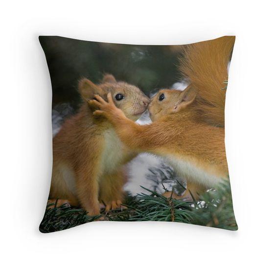 Baby Squirrel Kiss Throw Pillows