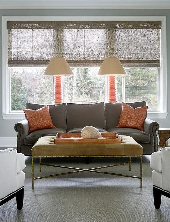 Gray living rooms orange lamps and living rooms on pinterest for Grey orange living room