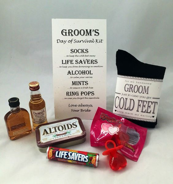 A Quirky Gift For The Groom On His Wedding Day Grooms Survival Kit Each Item Has Been Carefully Selected To Help Way Pinterest