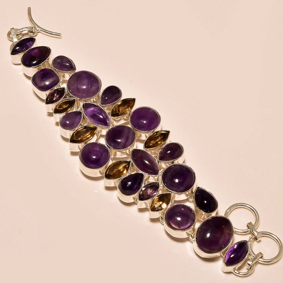 .925 Silver Excellent Amethyst Cab's & Faceted Smokey Topaz Bracelet #Handmade