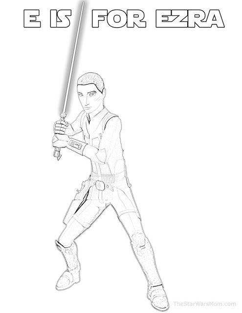 E Is For Ezra Bridger Star Wars Alphabet Coloring Page Star
