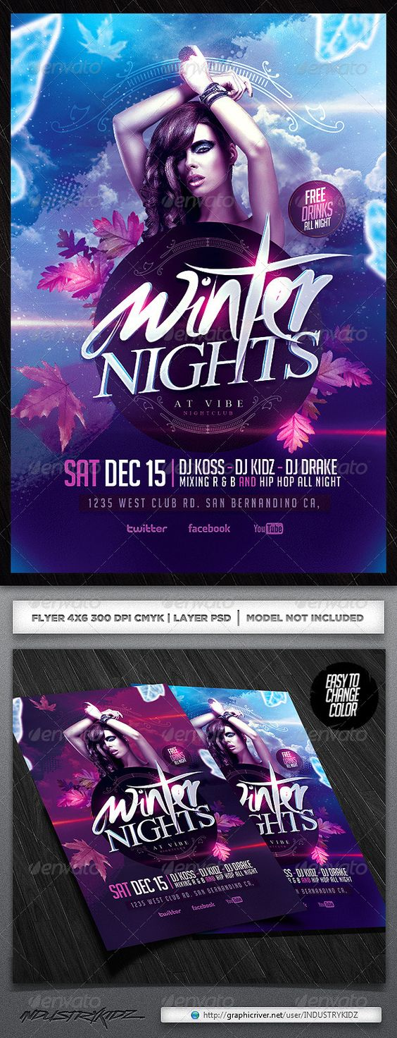 winter party psd flyer blue christmas party events and fonts winter party flyer template psd design graphicriver net