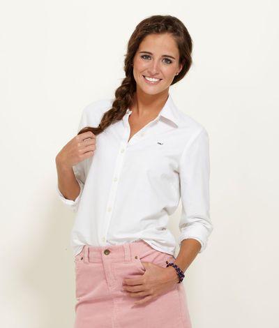 Womens Button Down Shirts White Oxford Shirt For Women