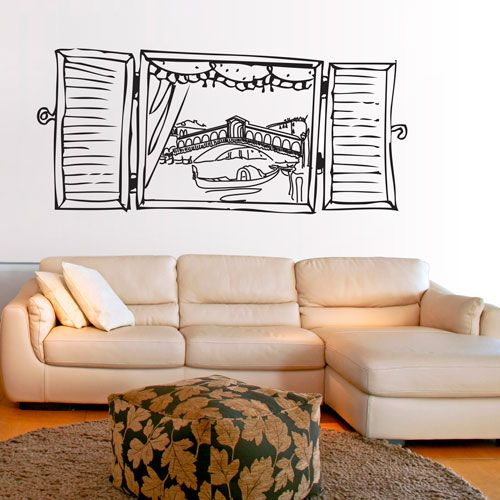 vinilo decorativo del dibujo de una ventana desde donde se