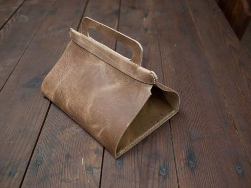 DIY Leather Lunch Tote; this would be a great present for friends and family who work in offices.  Via Design*Sponge.