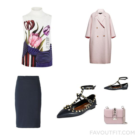 Outfit List Including Mary Katrantzou Blouse Rochas Dkny Skirt And Pointy Toe Flats From January 2016 #outfit #look
