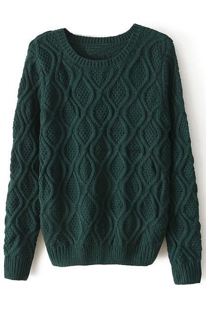 Chunky Diamond Knitted Dark Green Jumper - $29.99 @ pariscoming.com