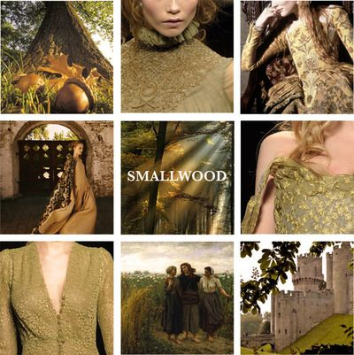 House Smallwood of Acorn Hall is a noble house from Acorn Hall in the Riverlands. Their sigil is six brown acorns, 3-2-1, on yellow. They are sworn to House Vance of Wayfarer's Rest. Lord Theomar is the current Lord of Acorn Hall. He is the husband of Ravella Swann, who insisted that Arya be dressed as a proper high-born lady when the Brotherhood without Banners brings her to Acorn Hall.