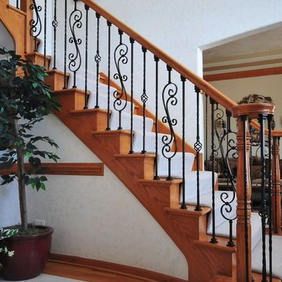 Best Rod Iron Steps Wood Balusters Replace With Wrought Iron 400 x 300