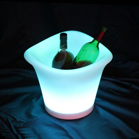 De gelo de plástico RGB com controle remoto 16 cor luminosa plástico barril de cerveja balde de gelo alishoppbrasil