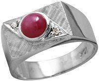 #Jewelry Mens 1.3CTW Ruby And Diamond 10k White Gold Ring