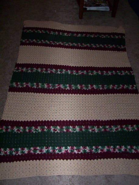 extended family member's christmas afghan from a book i can't remember and will have to find and update, used Red Heart yarn