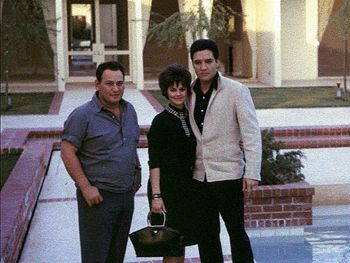 "March 2, 1963: While Elvis finished filming ""Fun In Acapulco"" Priscilla arrived in Los Angeles with her father, Captain Paul Beaulieu. He must meet Elvis and see the conditions for Priscilla living in Memphis with Vernon and Dee and finish the school year in Immaculate Conception High School. "" Photo taken during this time in Los Angeles."