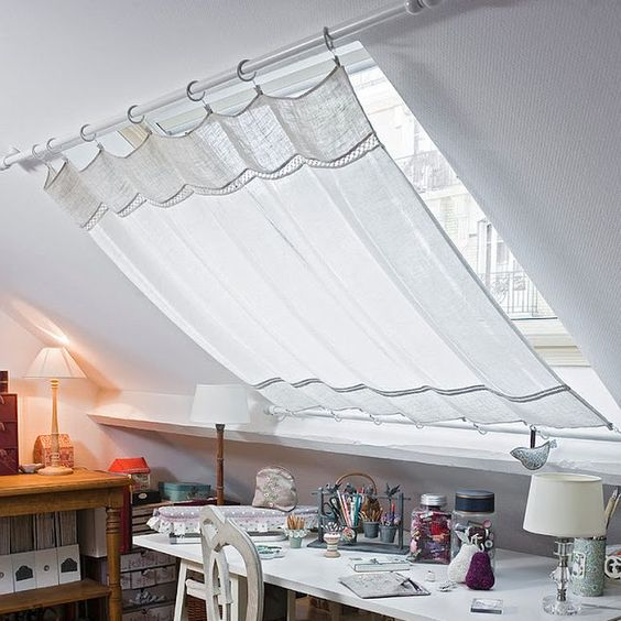 Skylights are magical but too much sunlight. Love this curtain ... http://www.decoist.com/shabby-chic-home-office-craft-rooms/:
