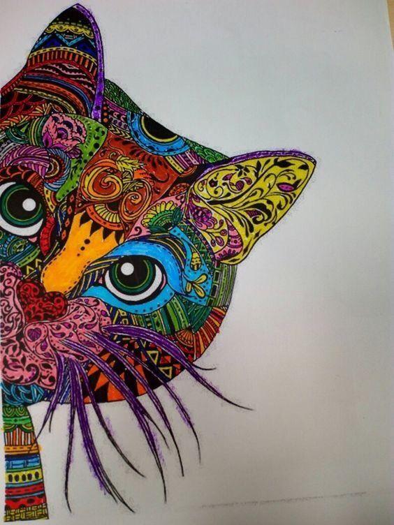 De Toutes Les Couleurs Coloriage Mandala Animaux Dessin Chat Coloriage Chat