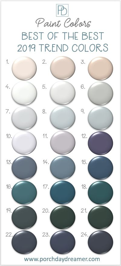 2019 Color of the Year from all of the major paint manufacturers. 132 paint color options that I've narrowed down to the 24 best colors this year. Find a new paint color for your next room makeover! #paintcolors #2019coloroftheyear #bestpaintcolors #choosingpaintcolor #greatpaintcolors #bestbluepaint #bestpinkpaint #bestwhitepaint #bestgraypaint