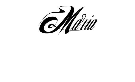 Tatuagem do nome Maria utilizando o estilo NuevoYork Regular