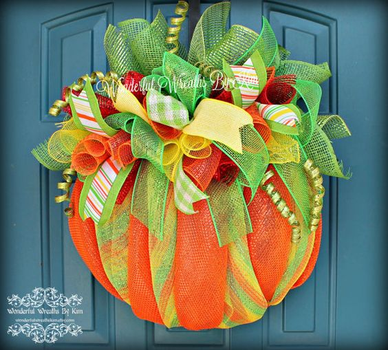 Pumpkin Deco Mesh Wreath Autumn Wreath by WonderfulWreathsKim