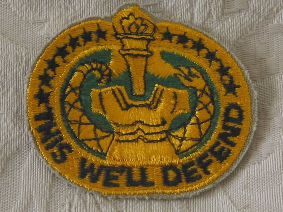 "MILITARY SHOULDER PATCH Drill Sergeant's Instructor Badge, ""This We'll Defend""  Junk_642  http://ajunkeeshoppe.blogspot.com/"