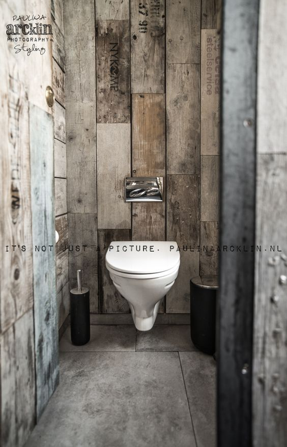 D coration int rieure wc toilettes papier peint trompe l 39 il illusion bois lambris gris for Decoration toilettes design