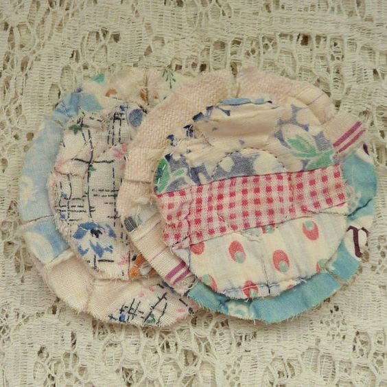 2 upcycled fabric flowers cottage chic by FavoriteThingsbyJane