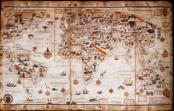 Cette mappemonde n'est autre qu'un présent de l'amiral Claude d'Annebault au roi de France Henri II, ayant régné entre 1547 et 1559. Claude d'Annebault était un militaire français nommé maréchal de France en 1538, puis amiral de France. Proche conseiller du roi François 1er, l'amiral avait perdu de l'influence lors de l'intronisation de son fils Henri II. Il pensait que le fait de lui offrir un tel cadeau pouvait l'aider à retrouver les faveurs du souverain. Pour élaborer cette carte, a été…