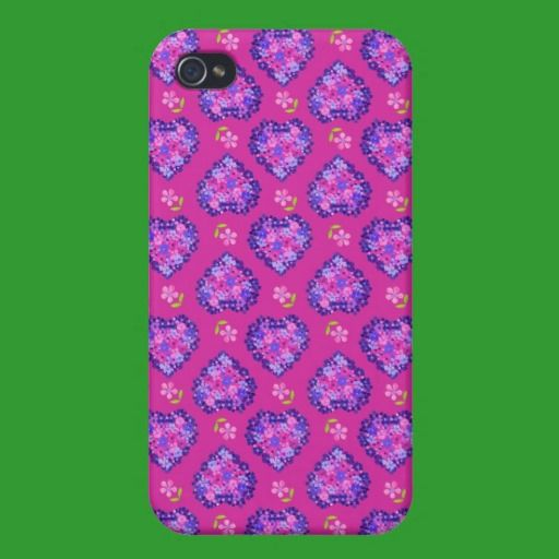 iPhone 4 Savvy Case, Hearts and Flowers on Magenta: iPhone 4 Case