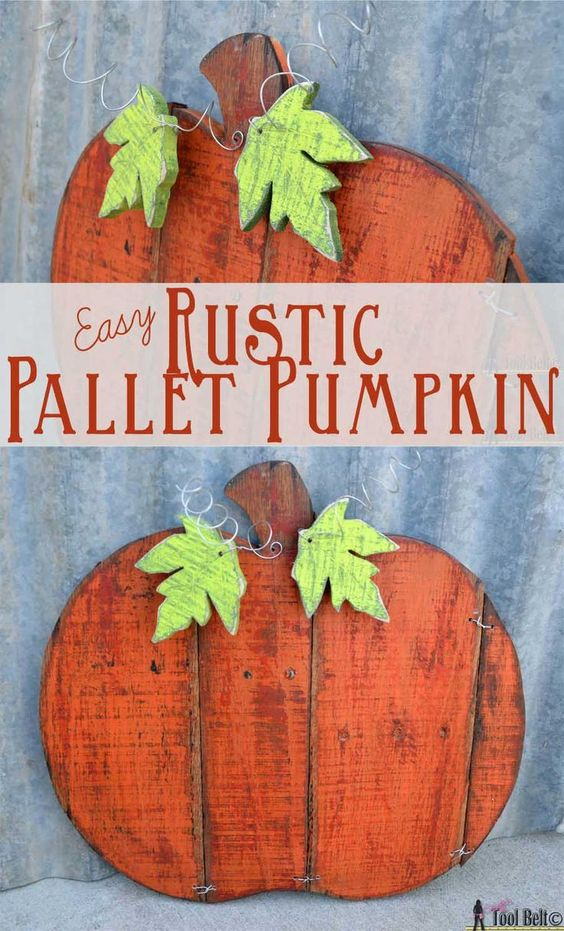 Easy Rustic Pallet Pumpkin - free printable templates - stain, paprika (Rustoleum) spray paint, orange craft paint, jig saw, sand paper, wire --- probably without leaves -- add base to sit outside? -- maybe keep jig or wood prices to hold together instead of wire