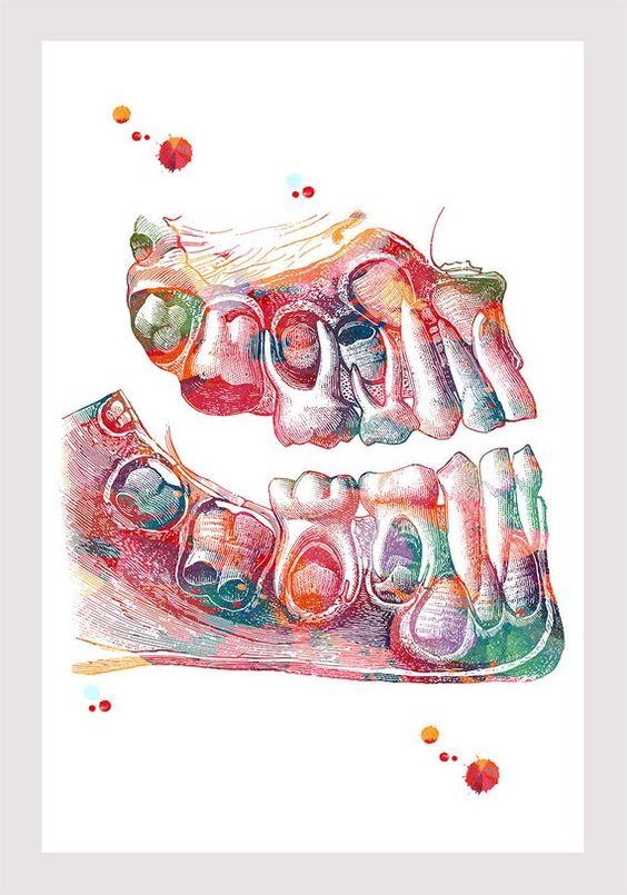 Niños dientes arte imprimir hojas caducas dientes acuarela   Etsy