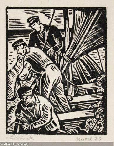 """UNOLD Max,""""Die Fischer"""" (Drei Männer im Boot),Galerie Gerda"""
