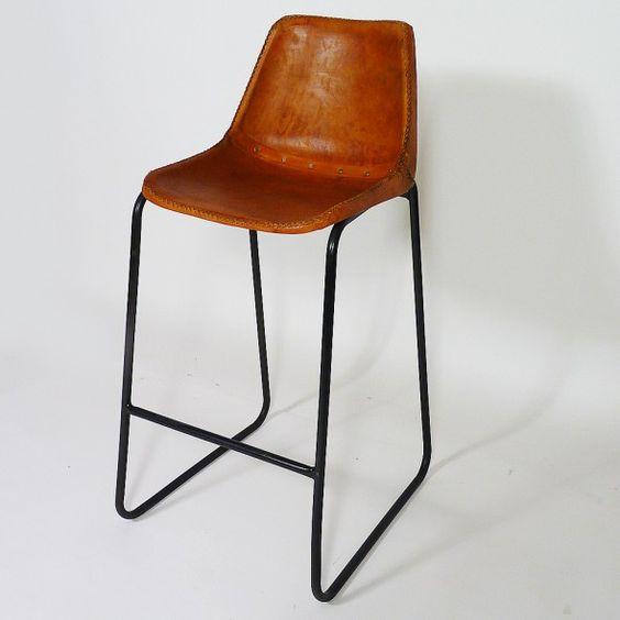 Chaise de bar Industrielle cuir et metal Dublin 135€