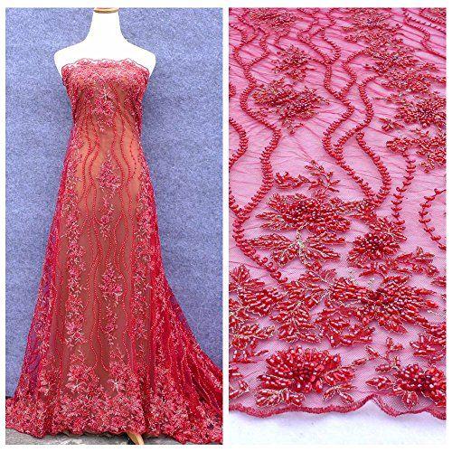 New Red Handmade Heavy Beaded Evening Show Dress Lace Fabric Widht 1 Yard