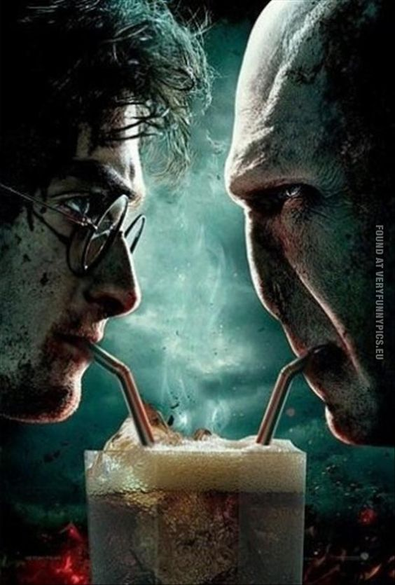 Harry Potter and Lord Voldemort shares a drink