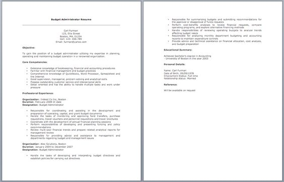 Budget Administrator Resume resume sample Pinterest Budgeting - shipping receiving clerk resume