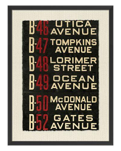 "Providence Art ""Brooklyn Bus Roll Sign I"""