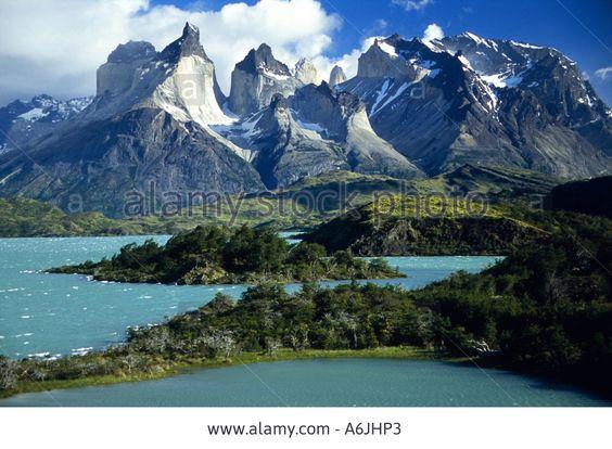 Lake Pehoe, Cerro Paine Grande and Cuernos Del Paine, Chile, Patagonia Stock Photo