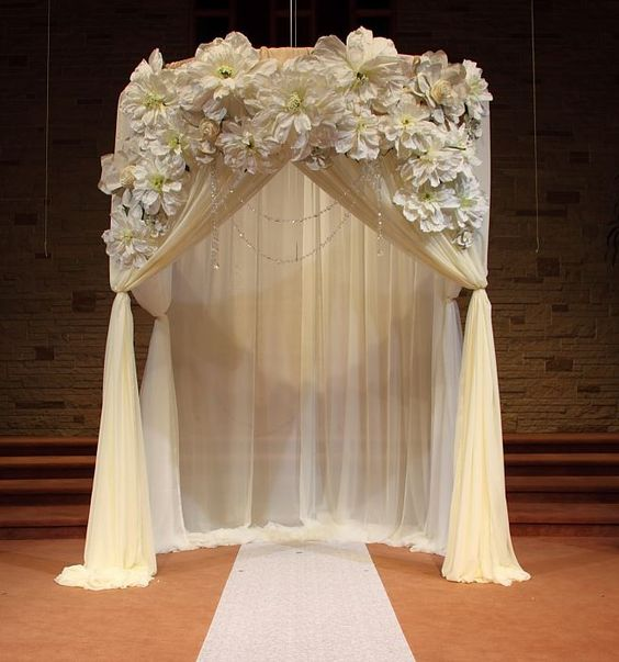 Wedding ceremony draped arch decorations ceremony for Arches decoration ideas