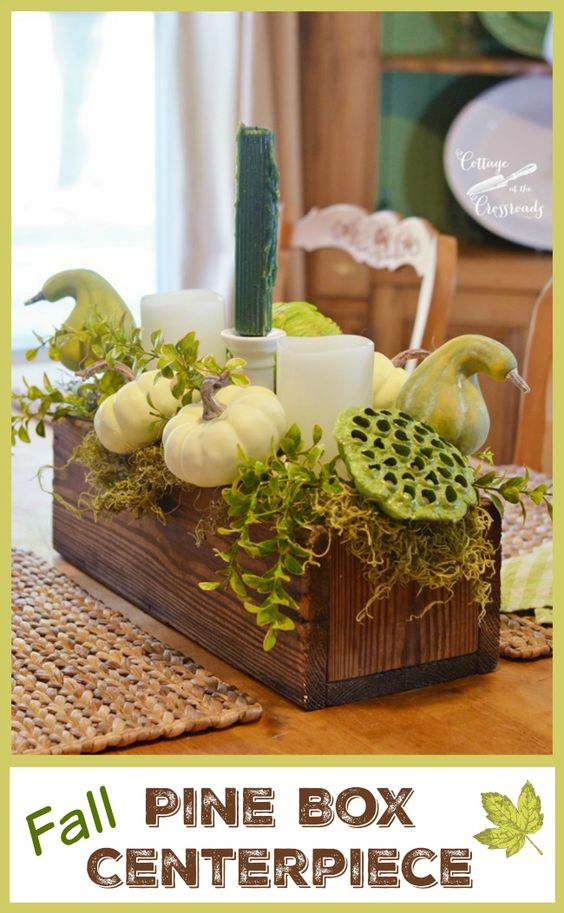 An old, pine box makes a perfect base for a fall centerpiece
