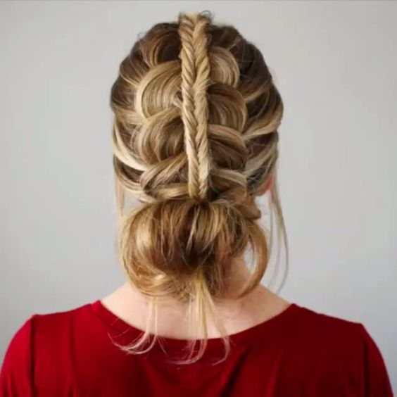 Stacked Fishtail + Dutch Braid Messy Bun  by @missysueblog