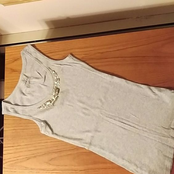 Grey embellished ribbed tank top Women's small ribbed tank top, grey. It has silver and clear beading on the neck line. From Old Navy, never been worn. Old Navy Tops Tank Tops