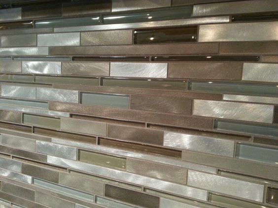 kitchen tile backsplash--mixed glass and metal tile backsplash ...