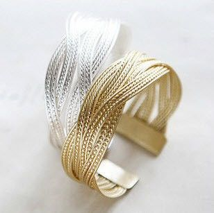 Braided and Plated Rattan Look Metal Bangle