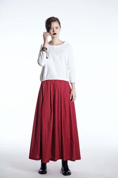 Elegante Rote Leinenmaxiröcke C492 von Luyahui auf DaWanda.com